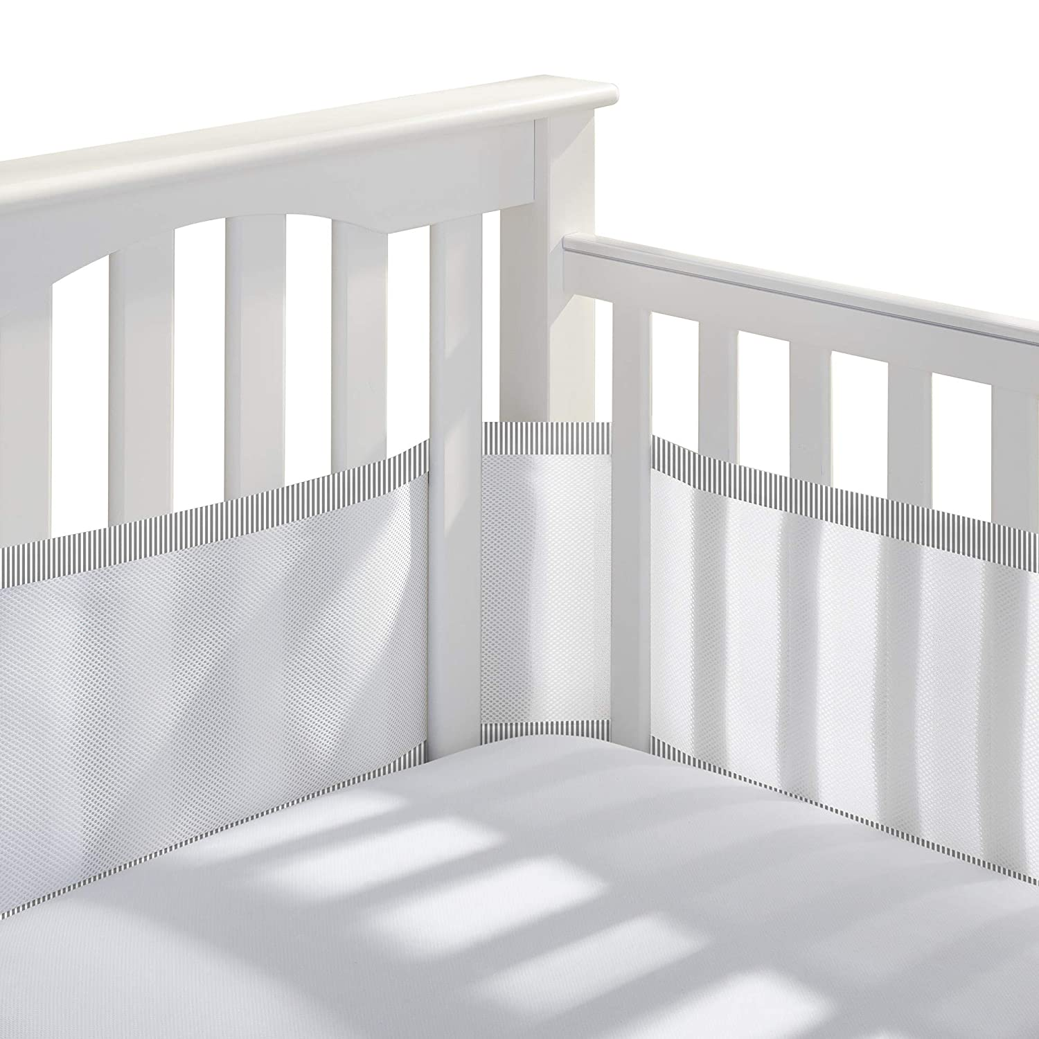 BreathableBaby Classic Breathable Mesh Crib Liner – White and Gray Seersucker Trim