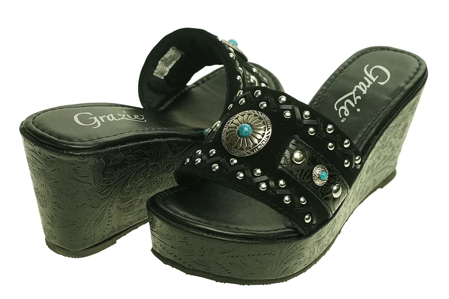 Grazie Women's Thora Wedge Sandals B06XC9K19Q 11 B(M) US|Black