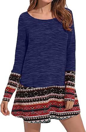 CNFIO Vestido para mujer con estampado de leopardo, manga larga, hasta la rodilla, con bolsillo, sudadera, informal, otoño.