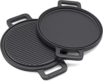 EurKitchen Pre-Seasoned Two-Sided Cast Iron Pizza Stone Griddle