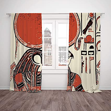 Thermal Insulated Blackout Window Curtain Egyptian Decor Papyrus