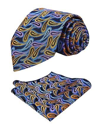 Alizeal Mini Paisley-Juego de Corbata y Pañuelo para Hombre Azul+ ...