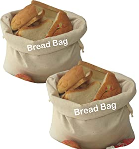 Bread bags, Bread Storage Bags for homemade bread, Set of 2,Large 13.5 x 17 Inch, Reusable Food Storage, Homemade Bread, Housewarming, Wedding Gift, Party.Made from breathable Flax cotton.