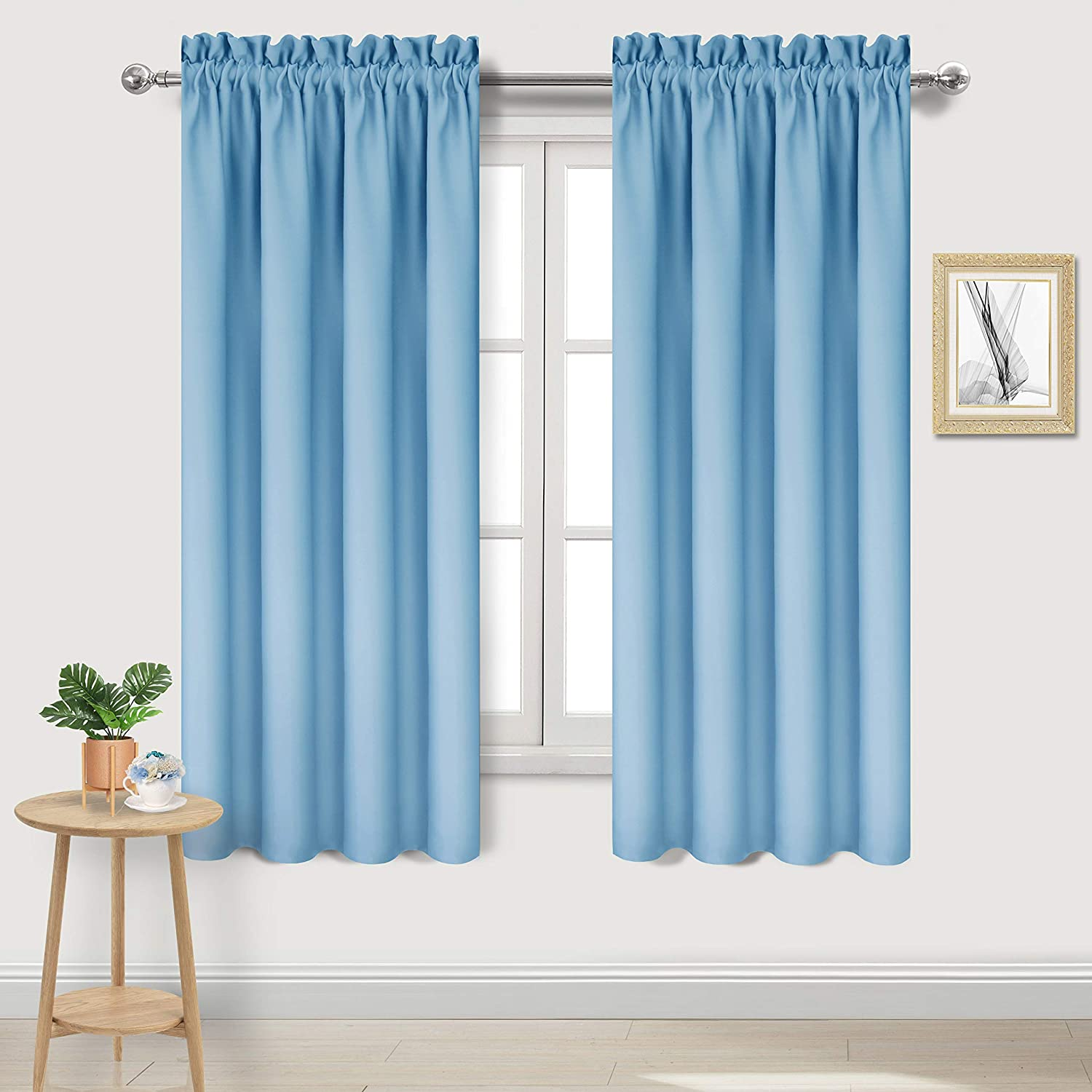 DWCN Blackout Curtains – Thermal Insulated, Energy Saving & Noise Reducing Bedroom and Living Room Curtains, Light Blue, W 42x L 63 Inch, Set of 2 Rod Pocket Curtain Panels
