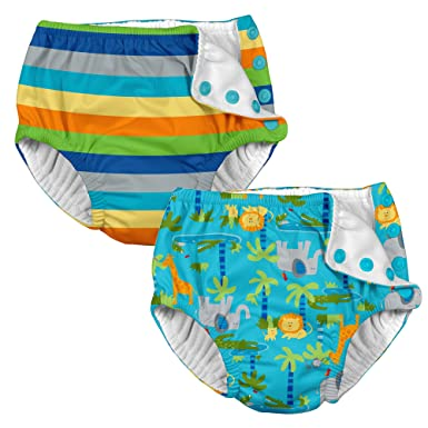 i play. 2 Pack Boys Reusable Baby Swim Diapers Stripe and Aqua Jungle 6  Months