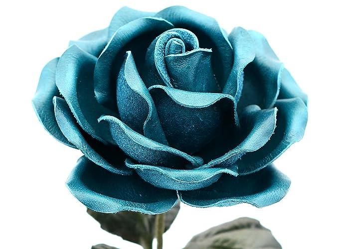 Amazon Long Stem Teal Leather Rose Handmade Third Wedding