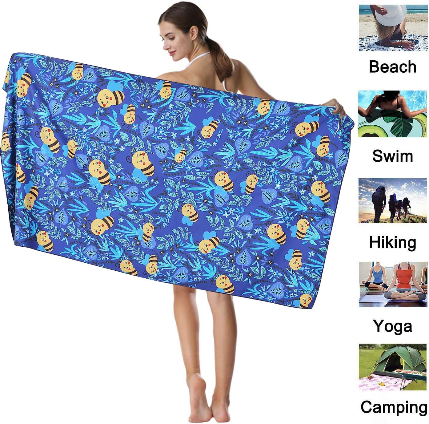 Yoga Camping Sand Free Towel for Kids Travel Pool Absorbent Sport Towel Outdoor and Picnic CHARS Microfiber Quick Drying Towel with a Carrying Bag Adults 15 x 30 inches Gym