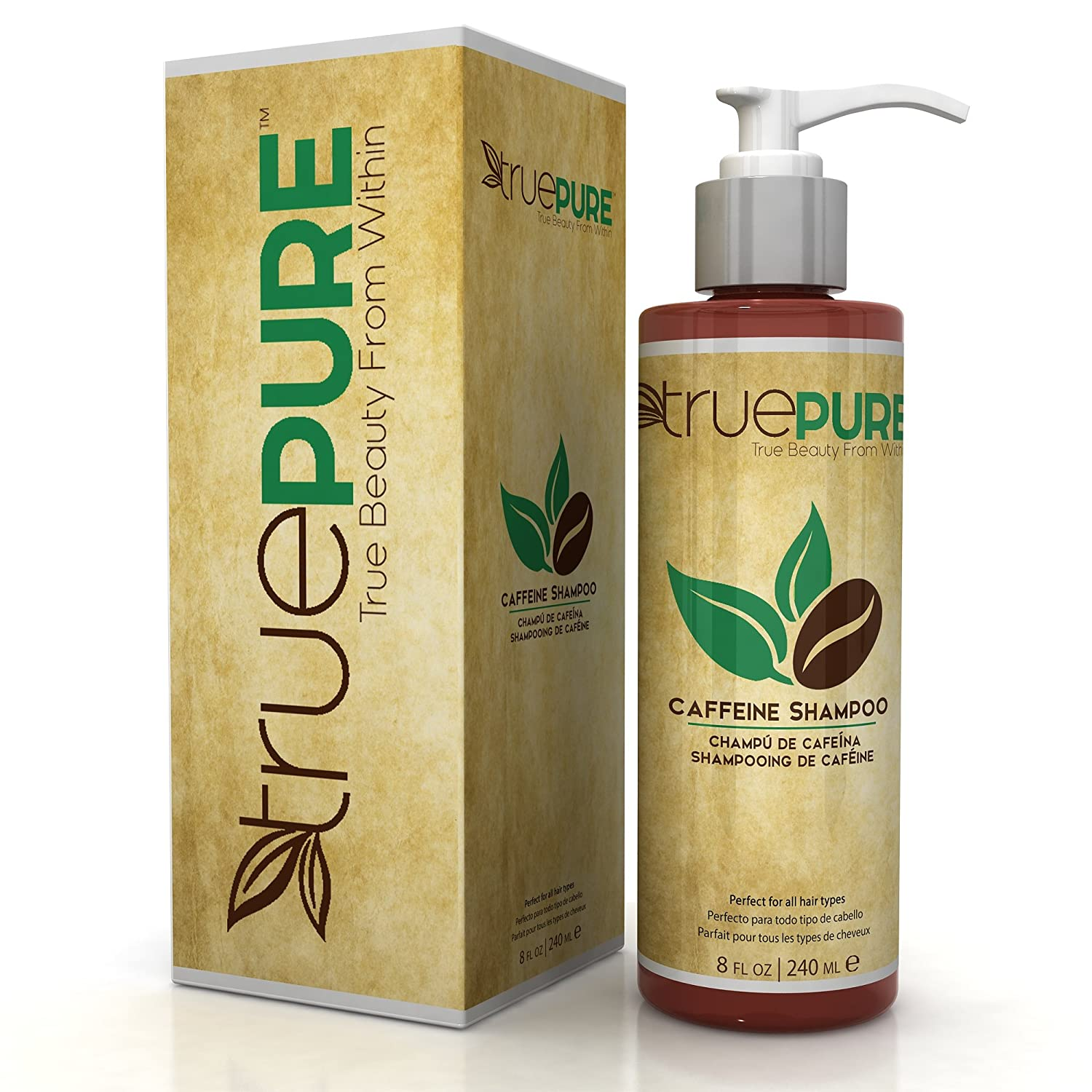 TruePure Natural Caffeine Shampoo With CoffeePure Complex - Fragrance Free, Non-GMO, Paraben & Sulfate Free Formula For Hair Loss Prevention & Healthy Hair Growth - 8oz CS1001