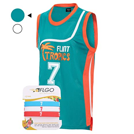 24315e689f60 AFLGO Coffee Black  7 Flint Tropics Basketball Jersey Semi Pro S-XXXL White  – 90 s Clothing Throwback Costume Athletic Apparel Clothing for Men