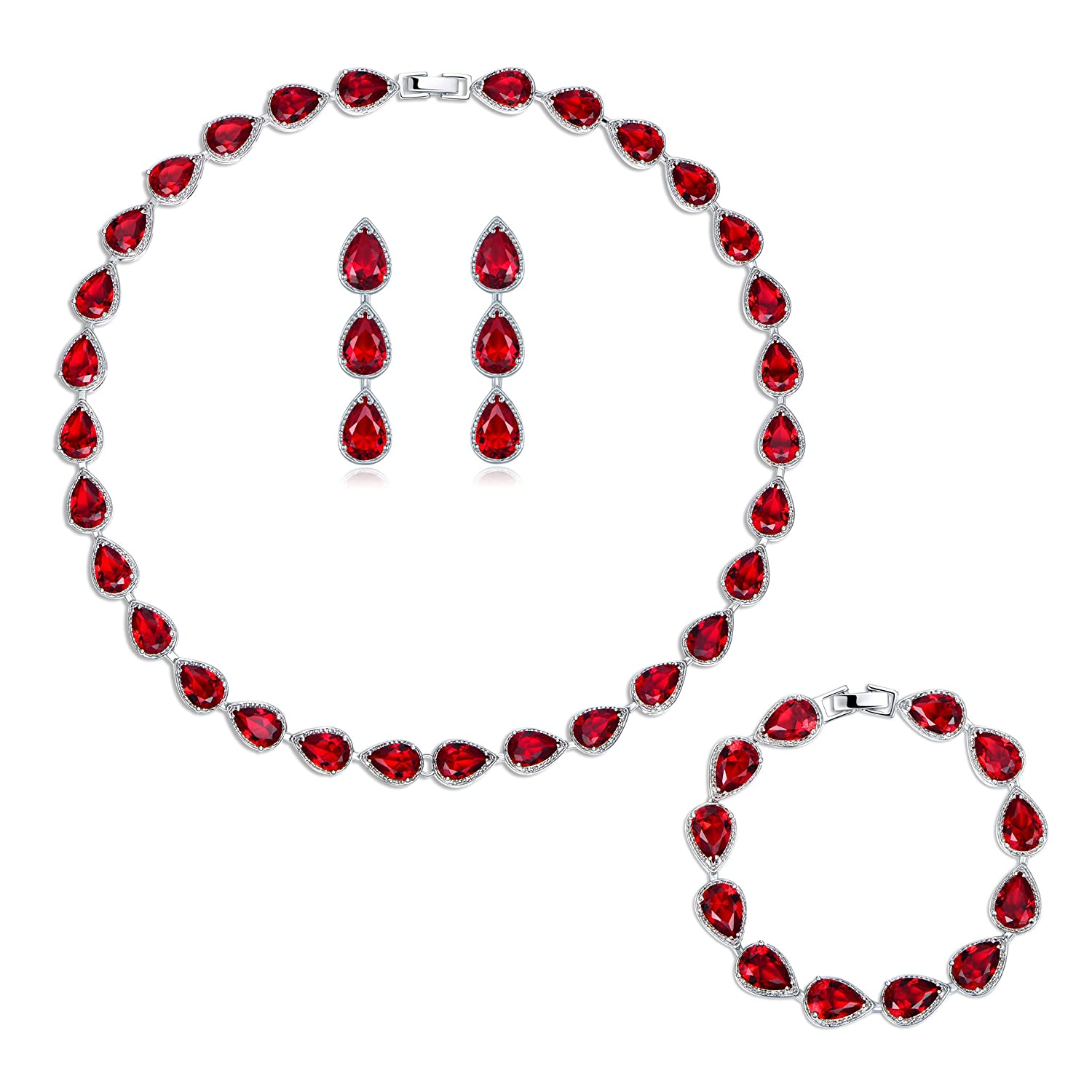 Faux Ruby Queen of Hearts Costume Jewelry Set - DeluxeAdultCostumes.com
