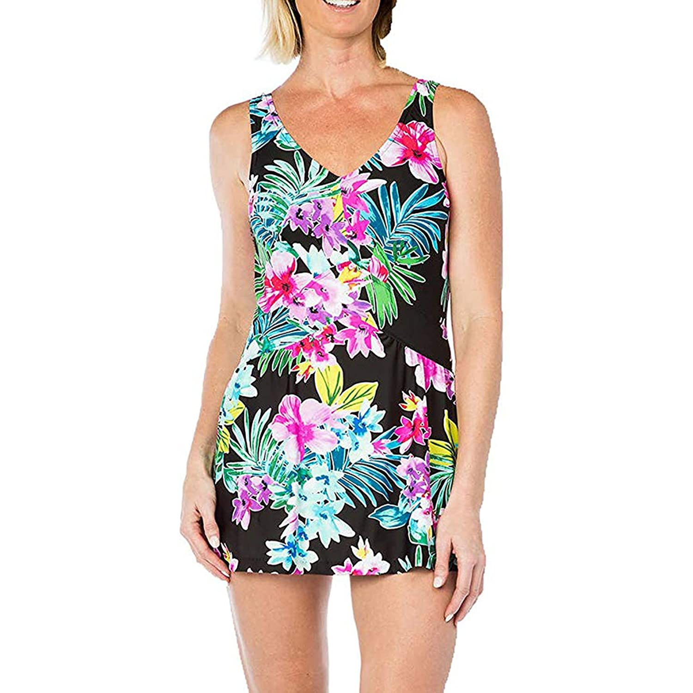 b6659a6973b9a Rose Marie Reid Ladies Swim Dress (Small, Floral Print) at Amazon Women's  Clothing store: