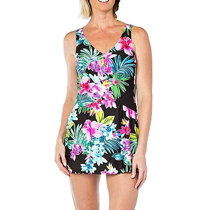89a749bd67 Rose Marie Reid Ladies Swim Dress (Small, Floral Print) at Amazon Women's  Clothing store: