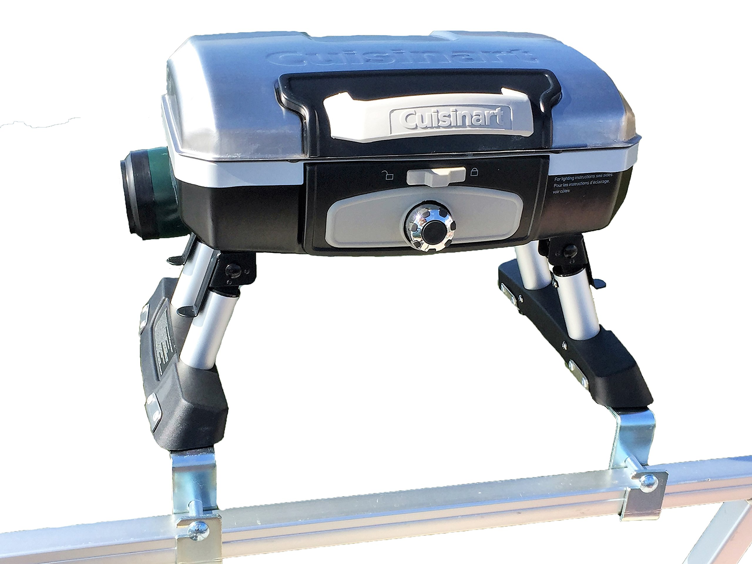 Extreme Marine Products Cuisinart Grill Modified for Pontoon Boat with Arnall's Stainless Grill Bracket Set Silver by Extreme Marine Products