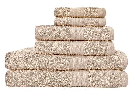 amazon com tex trend luxury soft 6 piece towel set beige 100