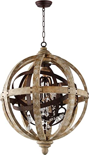 24 Rustic Vintage French Country Wood Metal Orbed Globe Chandelier Pendant 4 Light Heads Rustic Iron