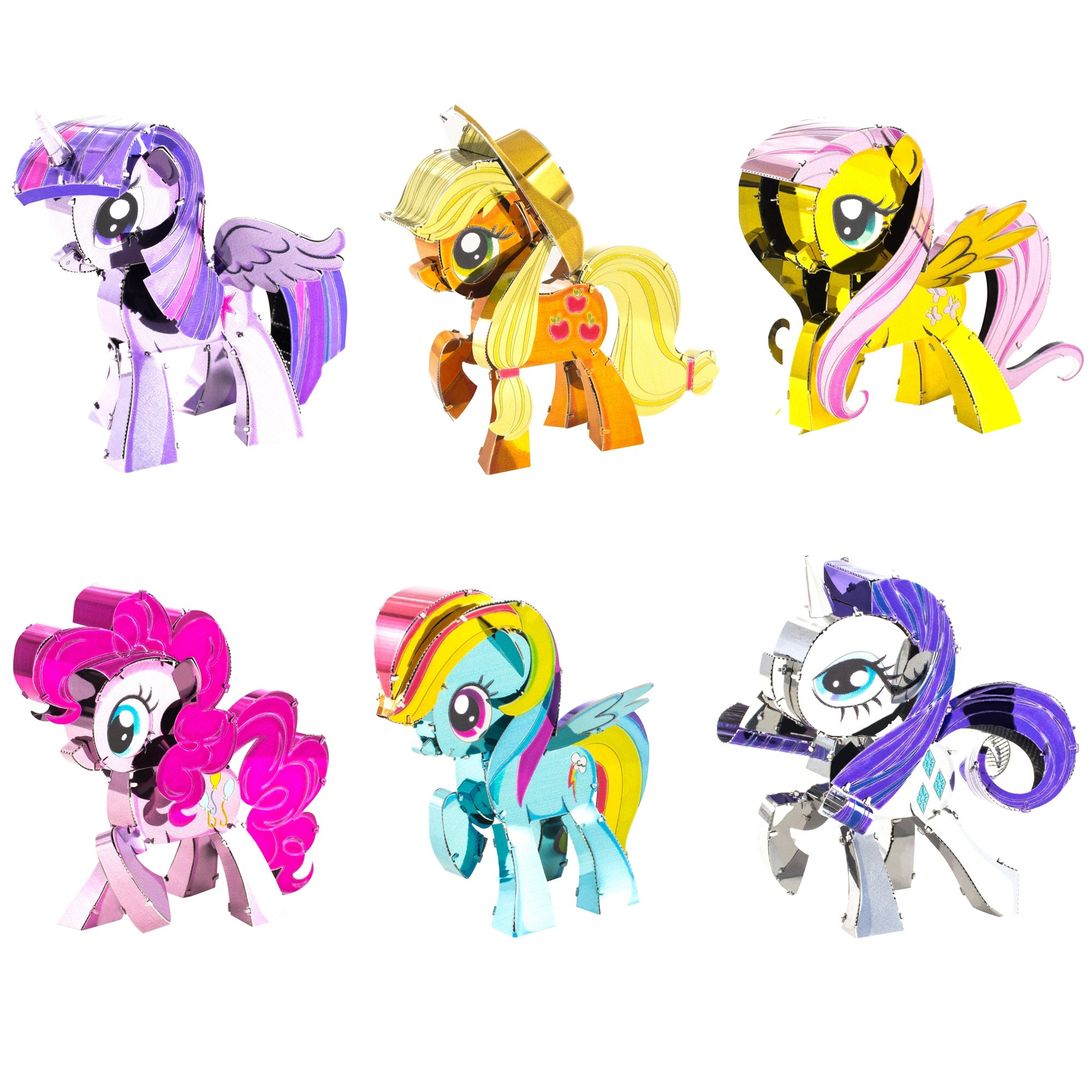 Fascinations Metal Earth 3D Metal Model Kits My Little Pony Complete Set of 6 Applejack - Fluttershy - Pinkie Pie - Rainbow Dash - Rarity - Twilight Sparkle