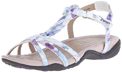 JSport by Jambu Women s Savina Flat Sandal  White Floral