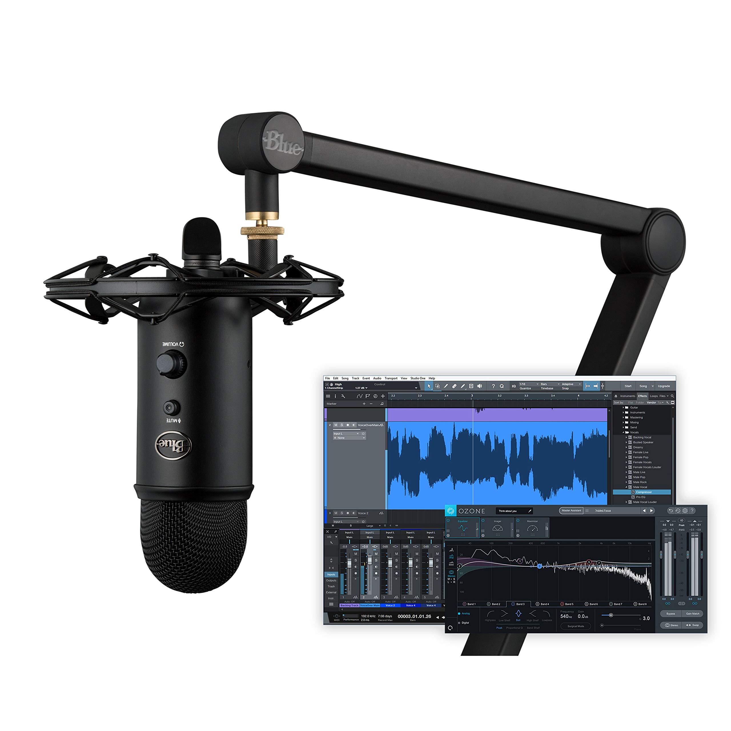 Blue Yeticaster Studio Blackout bundled with Yeti Blackout, Radius III shockmount, Compass broadcast boom arm and Multi-Track Recording-Mastering Software