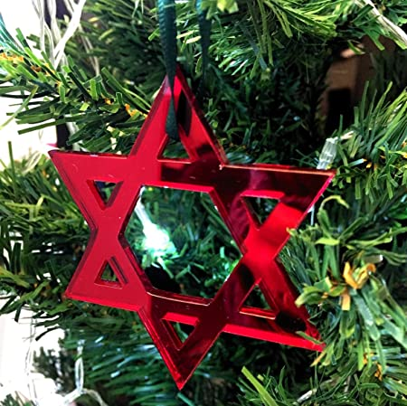 Attractive Star Of David Mirrored Red Christmas Tree Decorations   Pack Of 10