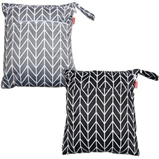 Damero 2pcs Travel Wet and Dry Bag with Handle for Cloth Diaper, Pumping Parts, Clothes, Swimsuit and More, Easy to Grab and Go (Medium, Gray Arrows+ Black Arrows)