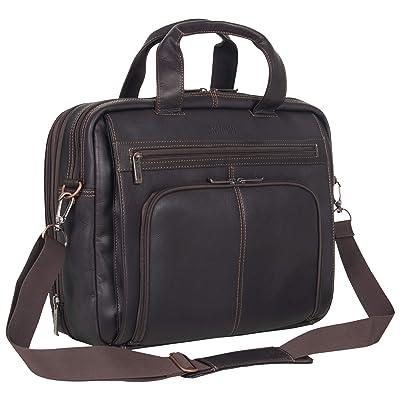 "Kenneth Cole Reaction Colombian Leather Dual Compartment Expandable 15.6"" Laptop Portfolio"