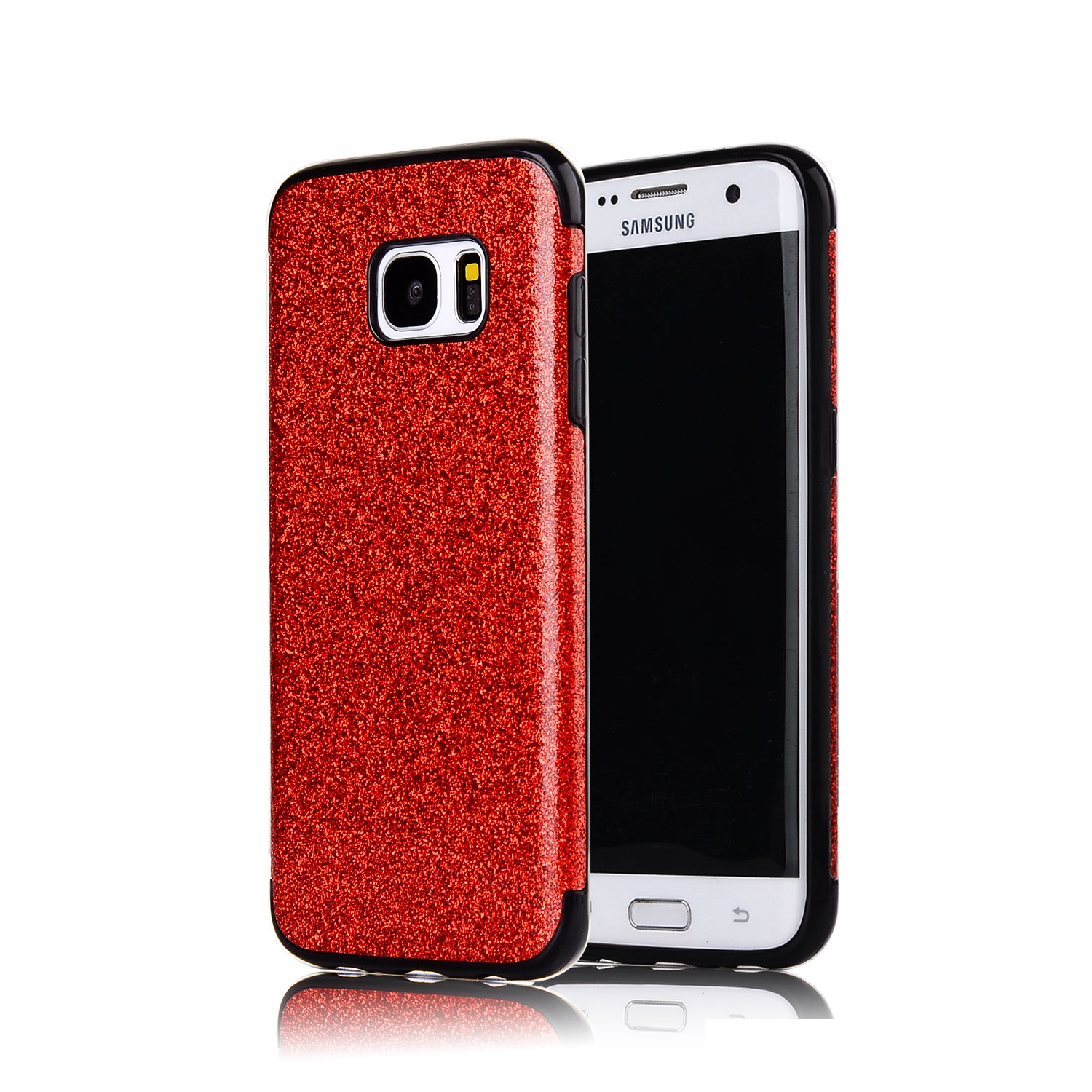 Sycode Silicone Coque pour Galaxy S6 Edge,Glitter Coque pour Galaxy S6 Edge,Luxe Strass Bling Très Mince Housse Etui pour Samsung Galaxy S6 Edge-Rose Or