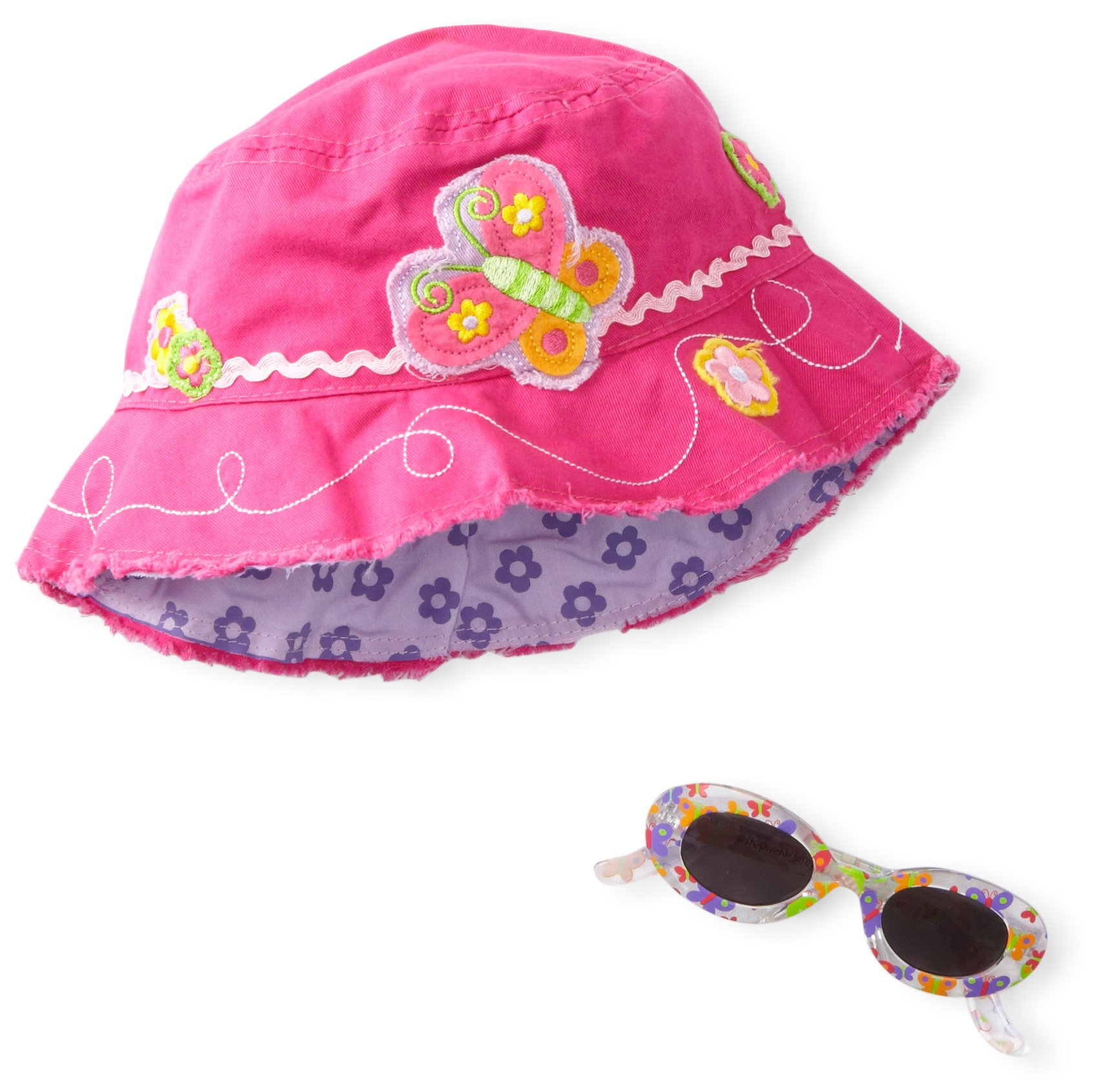 Stephen Joseph Girl's Bucket Hat With Sunglasses, Butterfly, One Size