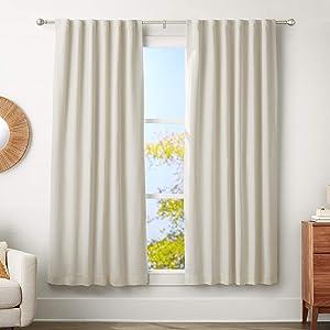 "AmazonBasics 1"" Curtain Rod with Round Finials - 72"" to 144"", Nickel"