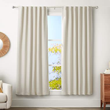 AmazonBasics 1  Curtain Rod with Round Finials - 72  to 144 , Nickel