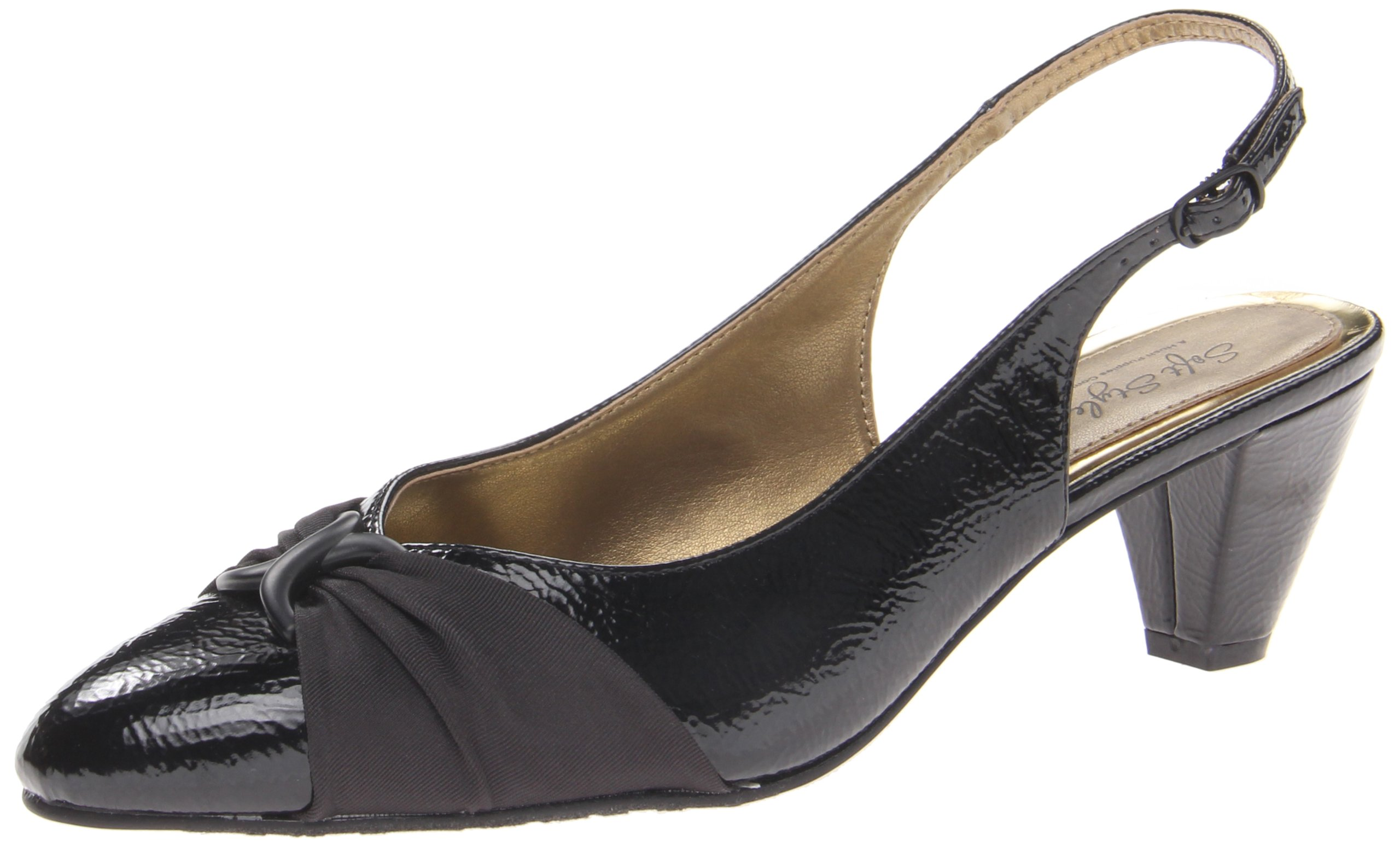 Soft Style Women's Dezarae Dress Pump,Black Crinkle Patent,7.5 W US