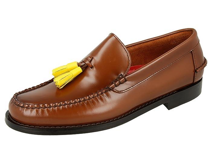 KERRIMAN Castellanos Hombre Marron KARIKOLE con BORLAS Amarillas: Amazon.es: Zapatos y complementos