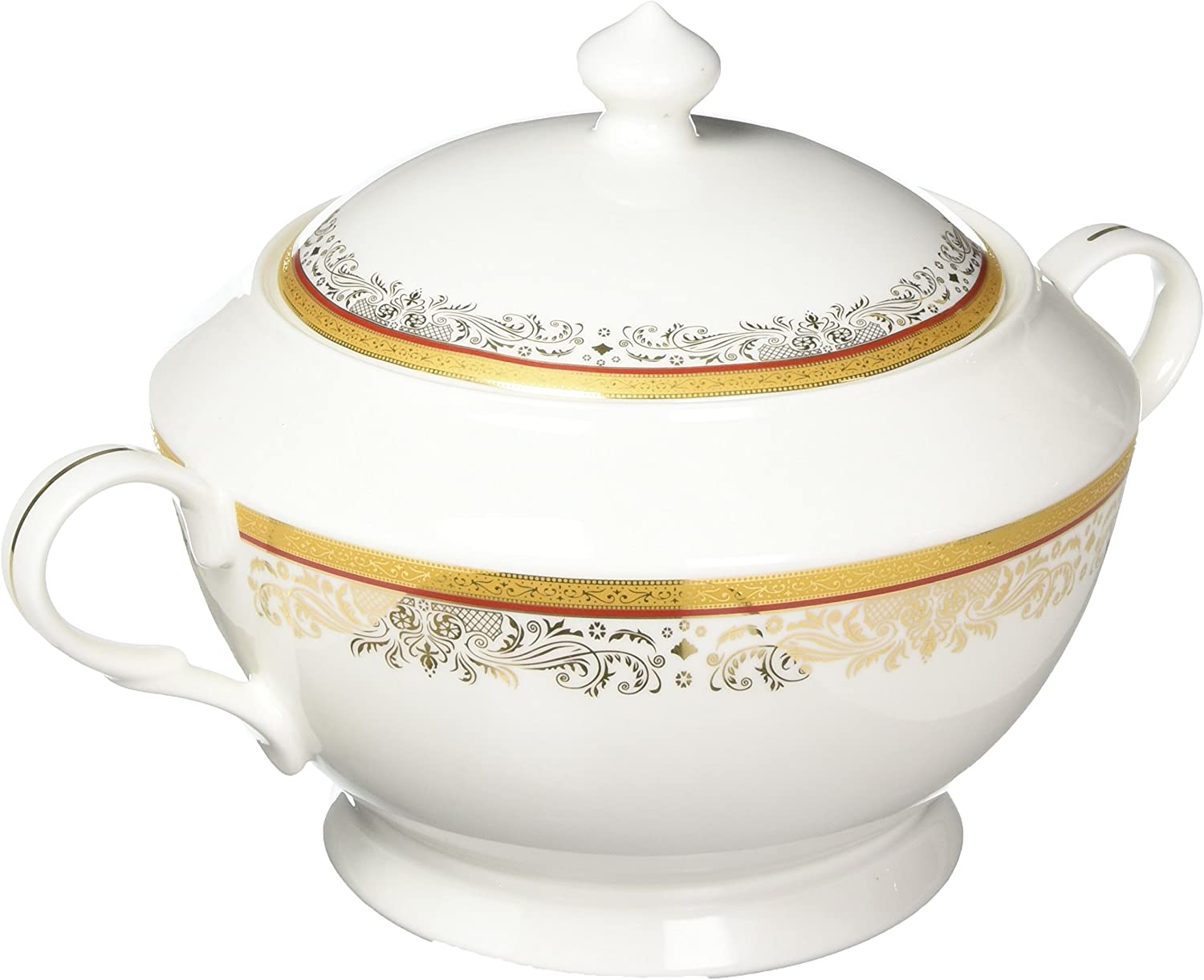 Lorenzo Import La Luna Collection Bone China Souptureen with Lid, Romina Pattern by Lorren Home Trends, Red