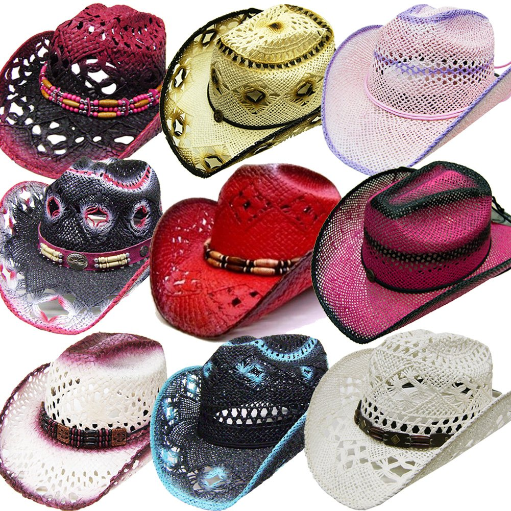 Modestone 24 Pcs Top Selling Pack Women's Straw Cowboy Hats Asst. Sizes/Colors by Modestone