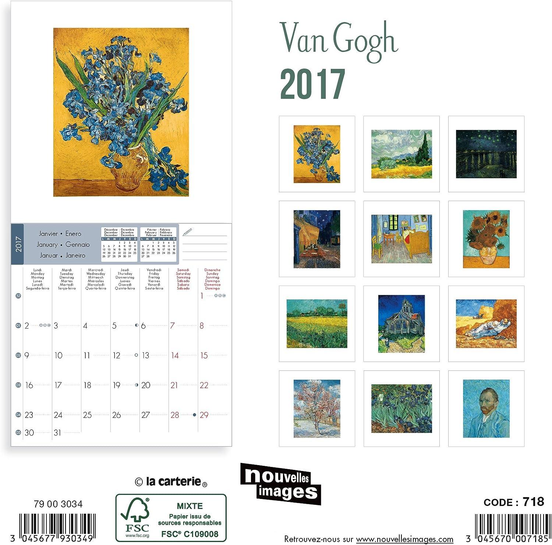 Nouvelles Images calendario 2017 Van Gogh 16 meses, 14,5 x 14,5 cm: Amazon.es: Oficina y papelería