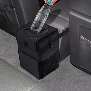 Universal Black Car Mini Trash Rubbish Bin Can Garbage Dust Case Storage Hold LD