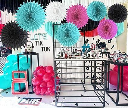 TIK Tok Birthday Party Decorations Fuchsia White Black Teal Tissue Paper Fans TIK Tok Party Supplies Black White Fuchsia TIK Tok Backdrop