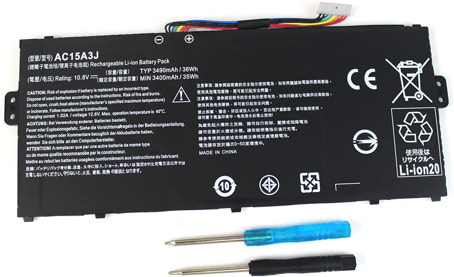 Shareway AC15A3J Replacement Laptop Battery for Acer Chromebook C738T 11 C735 CB3-131 R11 CB5-132T CB5-132T-C8KL Compatible P/N: AC15A8J KT.00303.017 [10.8V 3490mAh]