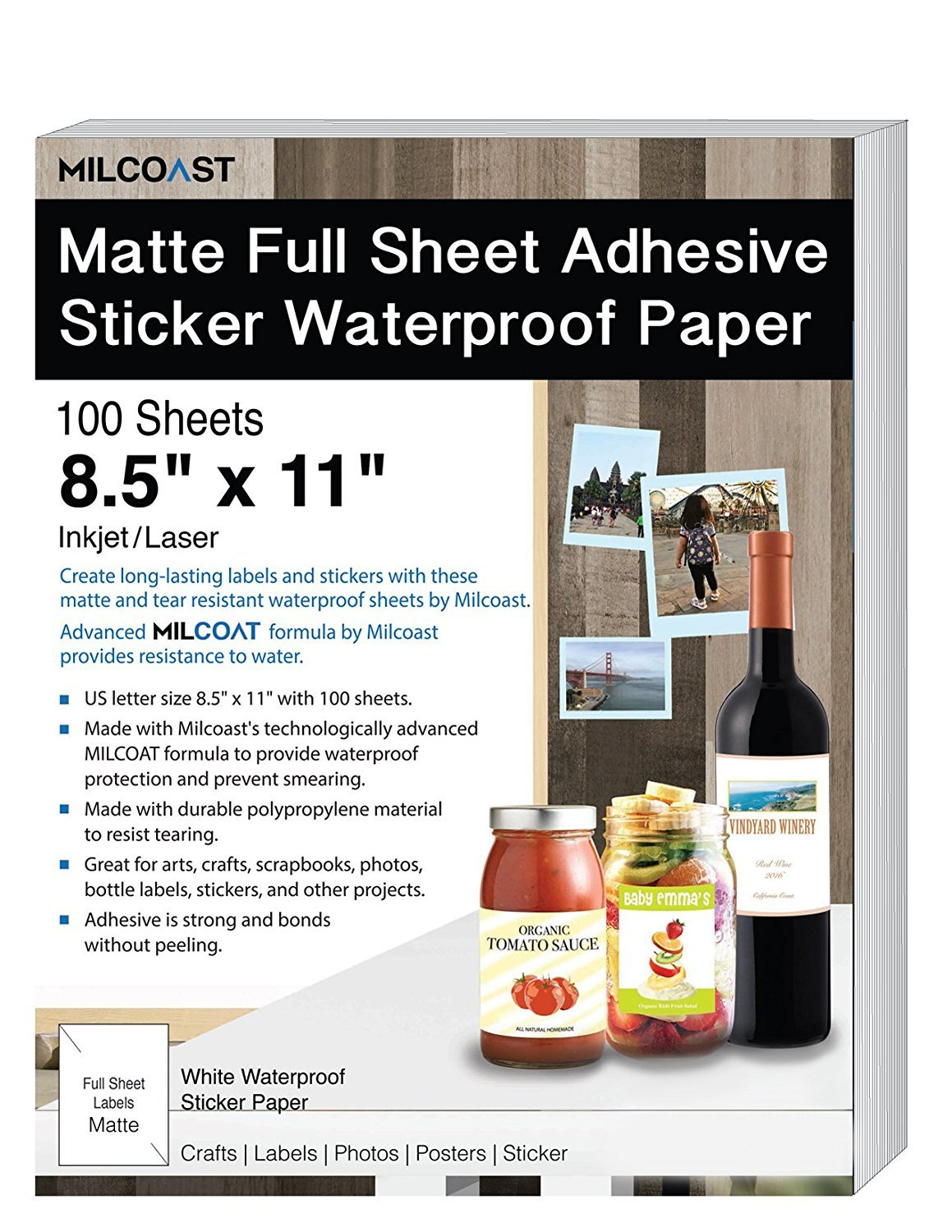 Milcoast Matte Full Sheet 8.5 x 11'' Adhesive Tear Resistant Waterproof Photo Craft Paper - for Inkjet/Laser Printers - for Stickers, Labels, Scrapbooks, Bottles, Arts, Crafts (100 Sheets)