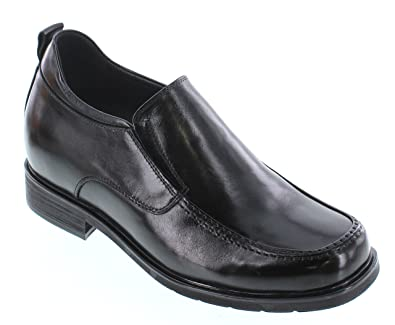 T52733-3.2 inches Taller - height Increasing Elevator Shoes - Black Leather Slip-On Dress Shoes