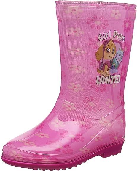 Filles Paw Patrol Rose Floral Caoutchouc épais Bottes Bottes Tailles UK enfant 5-10