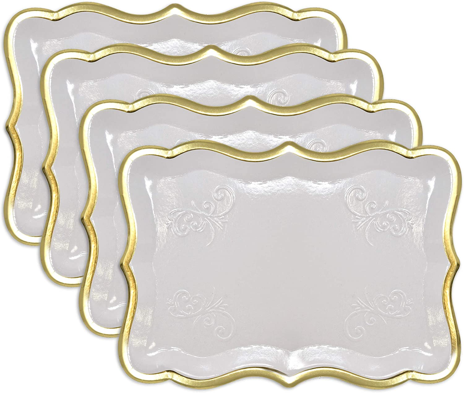 "10 White Rectangle Trays with Gold Rim Border for Elegant Dessert Table Serving Parties 9"" X 13"" Heavy Duty Disposable Paper Cardboard for Platters, Cupcake Display, Birthday Party, Weddings Food Safe"