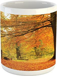 Lunarable Forest Mug, Autumn Fall Forest Scene with Vibrant Colors and Pale Leaves Tranquil Peace Nature, Ceramic Coffee Mug Cup for Water Tea Drinks, 11 oz, Orange Brown