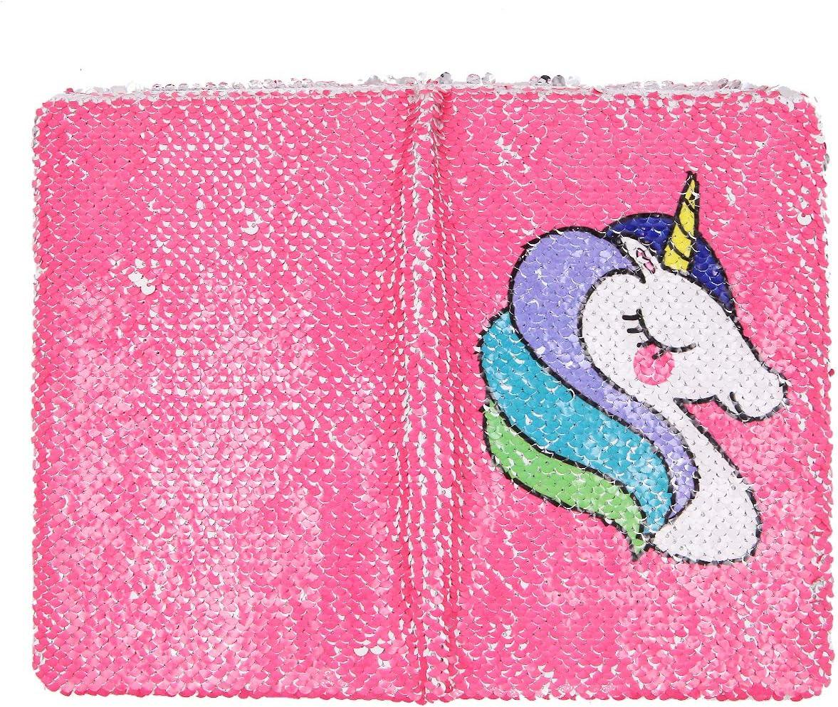 filles rose rouge motif sir/ène /à paillettes pour enfants Carnet de notes cr/éatif licorne format A5 r/éversible