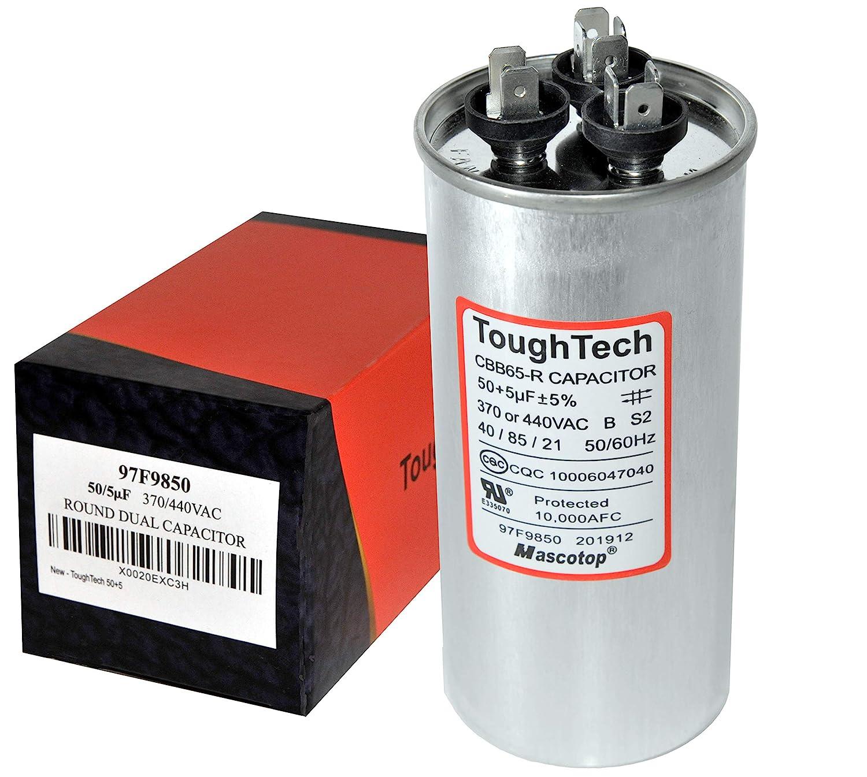 5  MFD uf 97F9850 370 or 440 Volt Dual Run Round Capacitor HVAC ToughTech 50