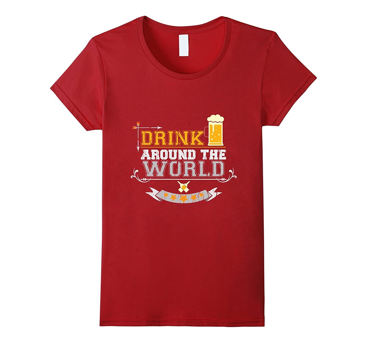 Adult Vacation Drinking Drink Around the World T-Shirt