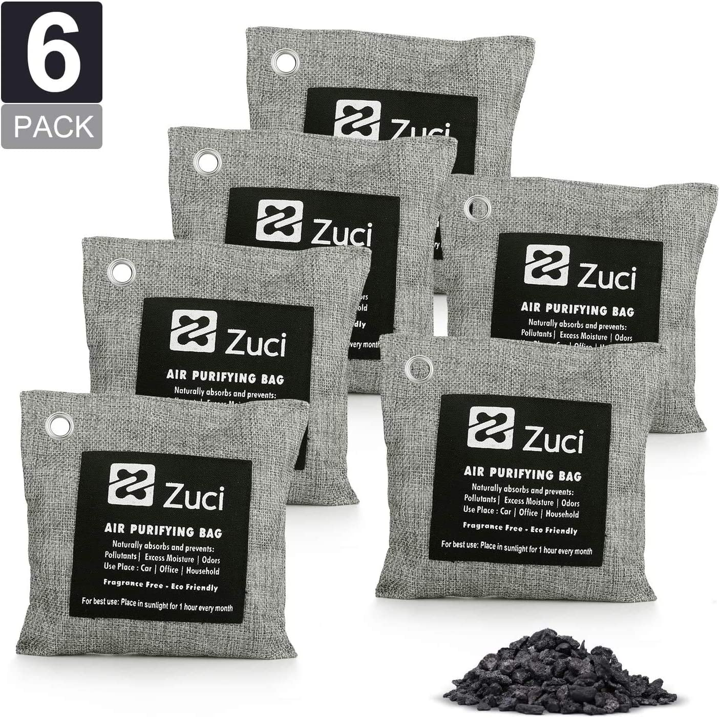 Pk 6 x 200 Grams, Bamboo Charcoal Air Freshener Bags, Naturally Activated Charcoal Bags, Odor Absorber, Car, Pets, Closet, Basement & Litter, Car Air Freshener