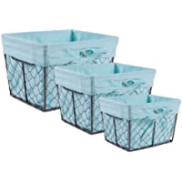 DII Z01538 Vintage Chicken Wire Baskets for Storage Removable Fabric Liner, Assorted Set of 3, Aqua, 3 Piece
