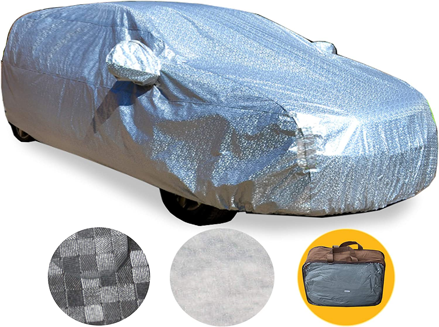 Brightent Different Size of Heavy Duty Car Covers Seden-Up to 210-Silver-Aluminum-Poly