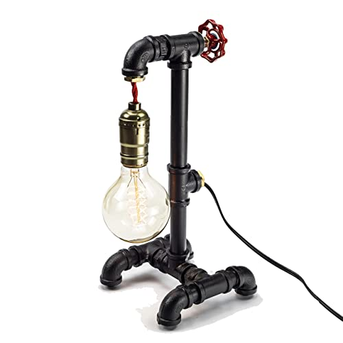 Loft Style Lamp with Dimmer, Dimmable Steampunk Industrial Vintage Antique Style Light, Iron Piping Aged Rustic Metal Desk Lamp, Y-Nut Fisherman Dark Black QTF-TB01-BBLK