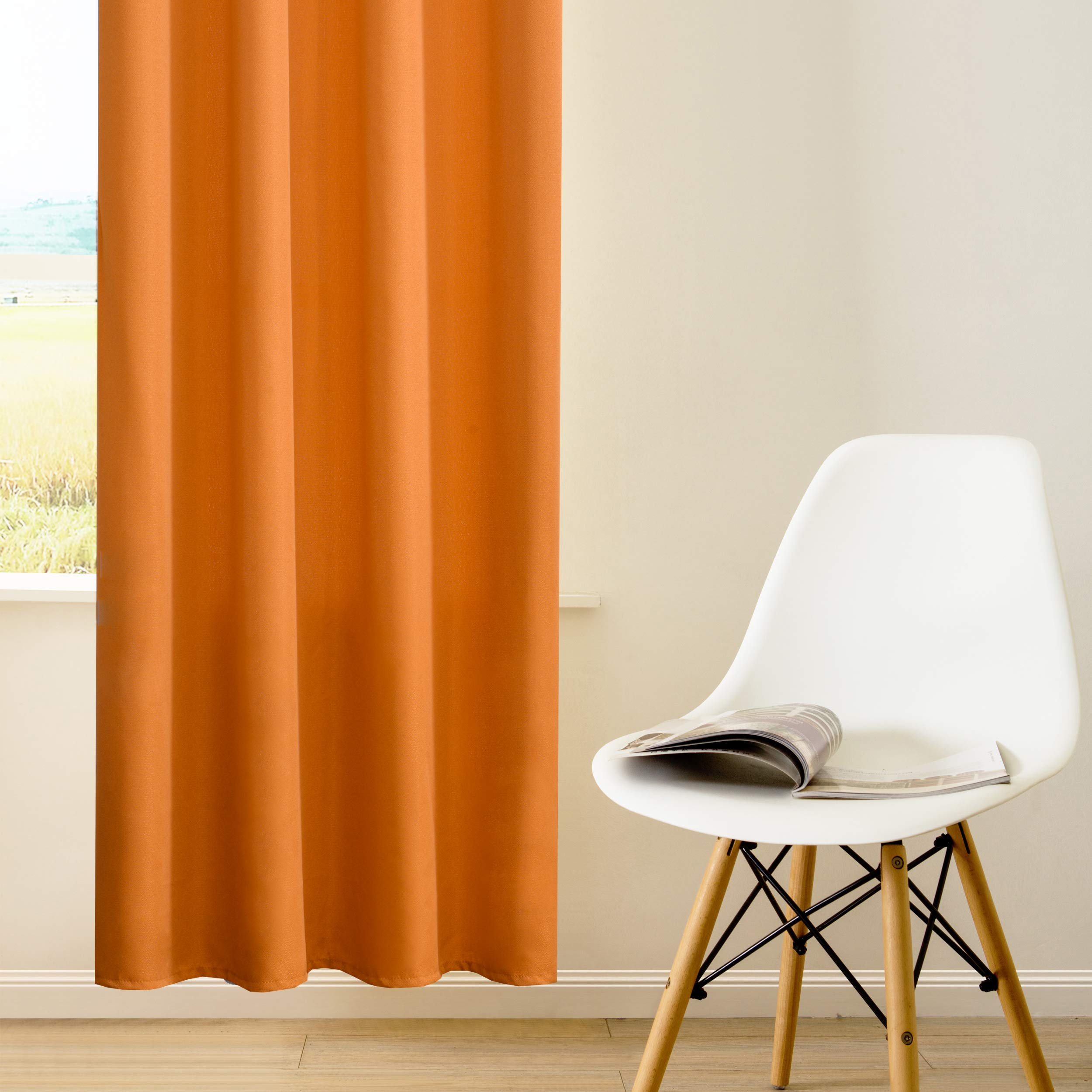DWCN Semi Sheer Curtains Sunlight Filtering Country Modern Style Draperies 8 Grommets Window Orange Curtain 52x63 inch Long Set of 2 Faux Linen Panels for Living Room by DWCN (Image #4)